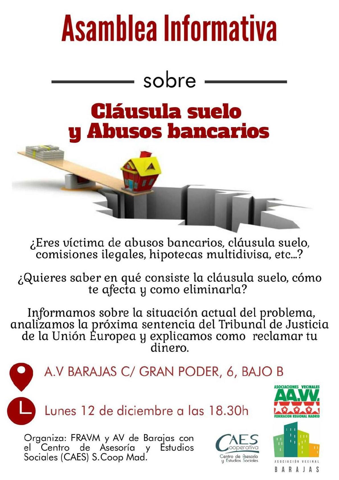 La fravm y la av barajas organizan este lunes una charla for Se puede reclamar clausula suelo