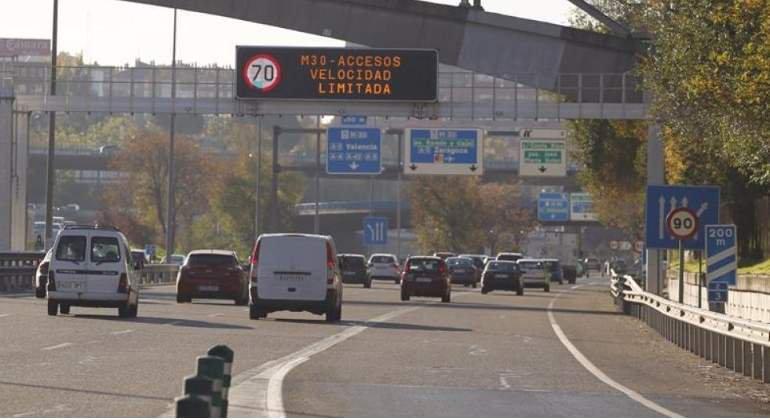 Activado el Protocolo de Contaminación: este martes se reduce la velocidad a 70 km/h en M-30 y accesos