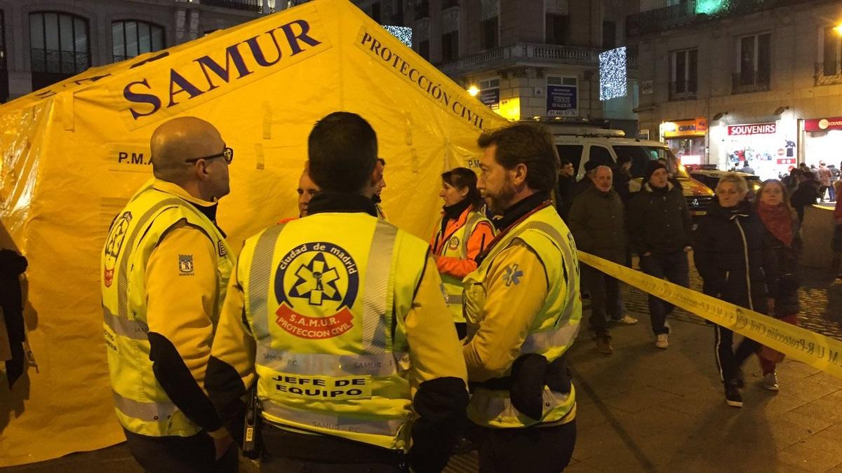 Once personas atendidas por el SAMUR esta tarde de sábado en la Puerta del Sol