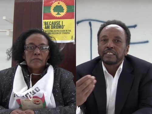Members of the Oromo Studies Association (OSA), Aad. Zeituna Kalil and Prof. Asafa Jalata, at the World Social Forum in Tunis, Tunisia