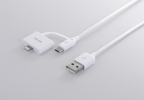 iPhone、Androidもこれ1本で充電、データー転送加納なLightningコネクター付きUSB microBケーブル