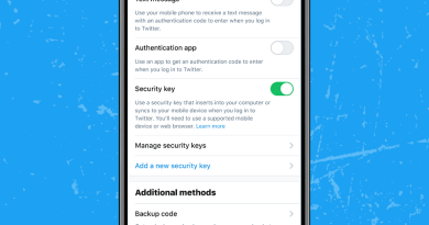 Twitter for 2-step verification with a physical security key