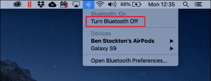 Toggle Bluetooth/Airdrop