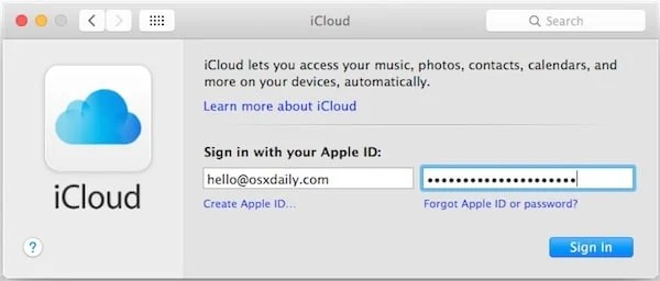 sign in to your iCloud Account on MAC