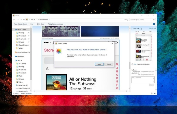 delete images from a shared photo album on your PC