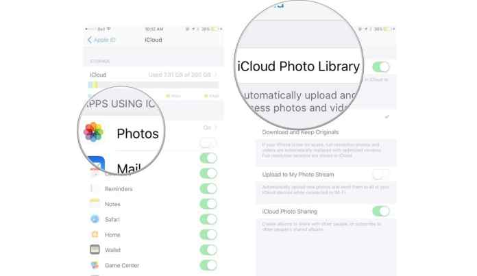Upload photos on iCloud on iPhone