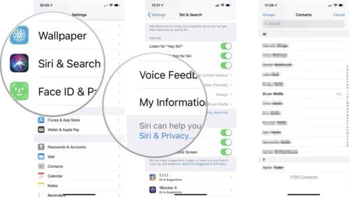 change your Siri contact info