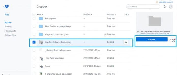 file restoring after deletion