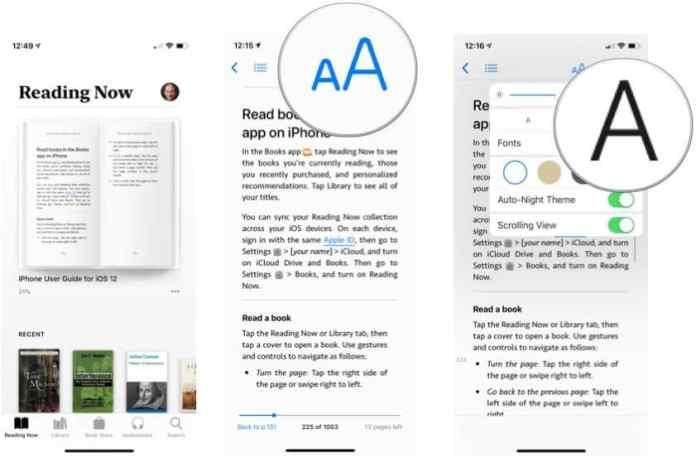 Change font size - customize Apple Books