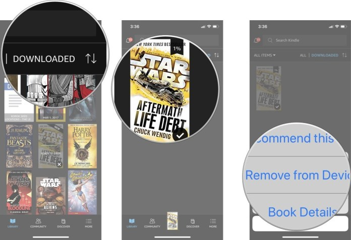 Remove books from your device in the Kindle app