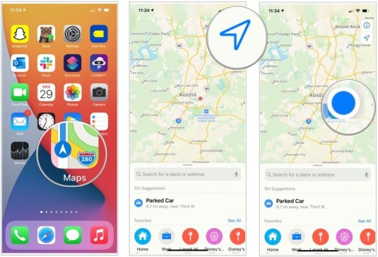 Instruction to share your location via AirDrop with Maps for iPhone and iPad