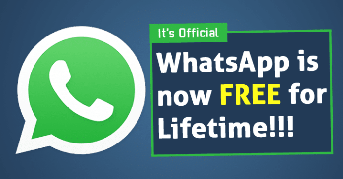 whatsapp is free for lifetime