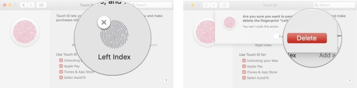 delete a fingerprint- use Touch ID on MacBook Air or MacBook Pro