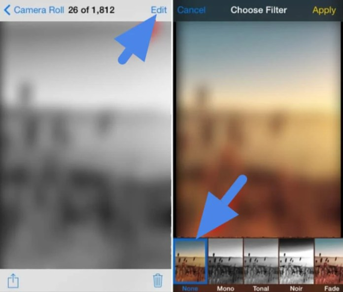 Apply filters to photographs on iPhone