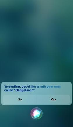 Take, Find, Update notes with Siri