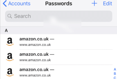 look up passwords and accounts  on iPhone