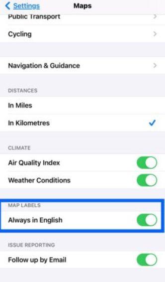 change Map settings