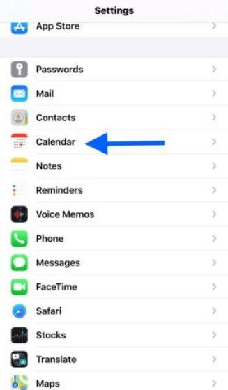 Time Zone Override  settings- Calendar settings on iPhone