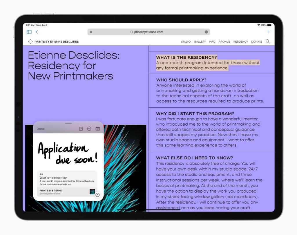 Apple iPadPro iPadOS15 QuickNote Safari 060721