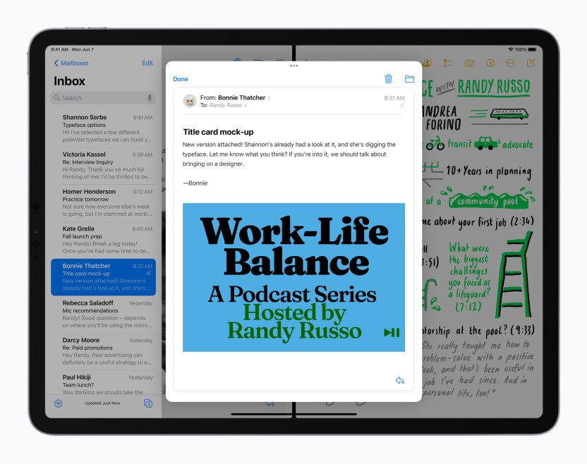 Apple iPadPro iPadOS15 mail notes multitasking splitview 060721