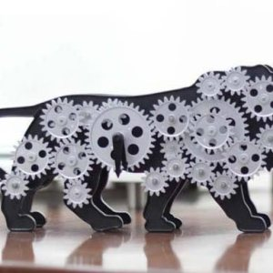 Make In India Lion Table Clock With Moving Gears