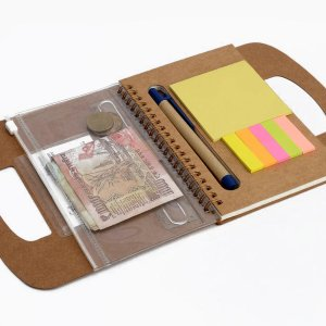 Writing Buddy: Diary With Pen, Wallet, Sticky Pads And Carrying Handle