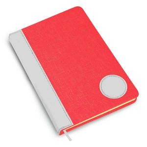 Colored Linen with PU round patch A5 notebook (Binary design)