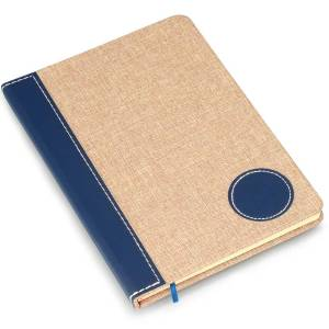 Brown Linen with PU round patch A5 notebook (Binary design)