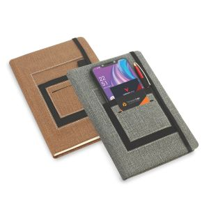 A5 notebook with mobile pocket, card holder pocket & pen loop by Castillo Milano