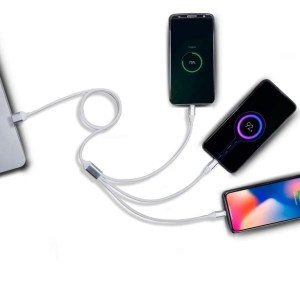 3 in 1 Fast charging soft touch cable | 2.5A output (for Micro, Type C and iOS)