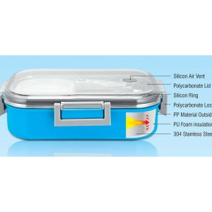 Sigma Poly-Steel Slim Lunch box (Made of Polycarbonate and Steel) (Unbreakable)