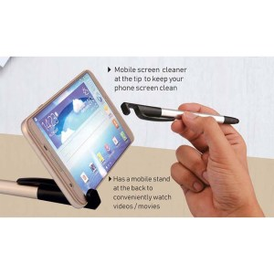4 in 1 pen with mobile stand, stylus and cleaner