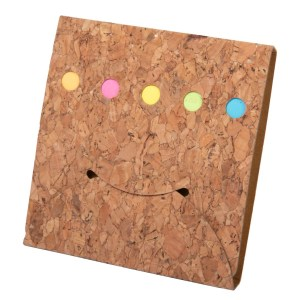 Smily Cork notepad with Sticky notepad and strips