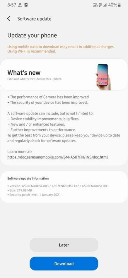 New update of Galaxy A50s