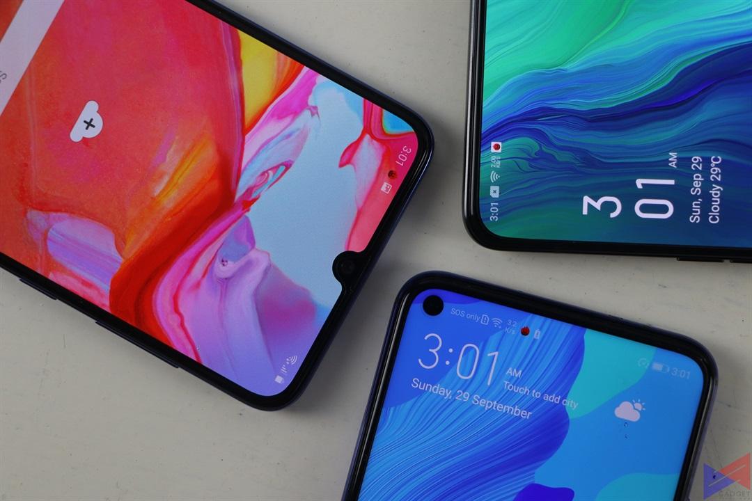 Huawei Nova 5T vs OPPO Reno vs Samsung Galaxy A70 Display