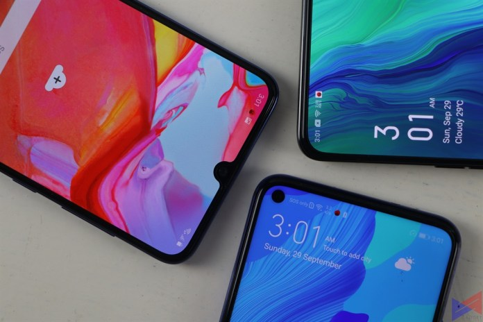 Huawei Nova 5T vs OPPO Reno vs Samsung Galaxy A70 Display