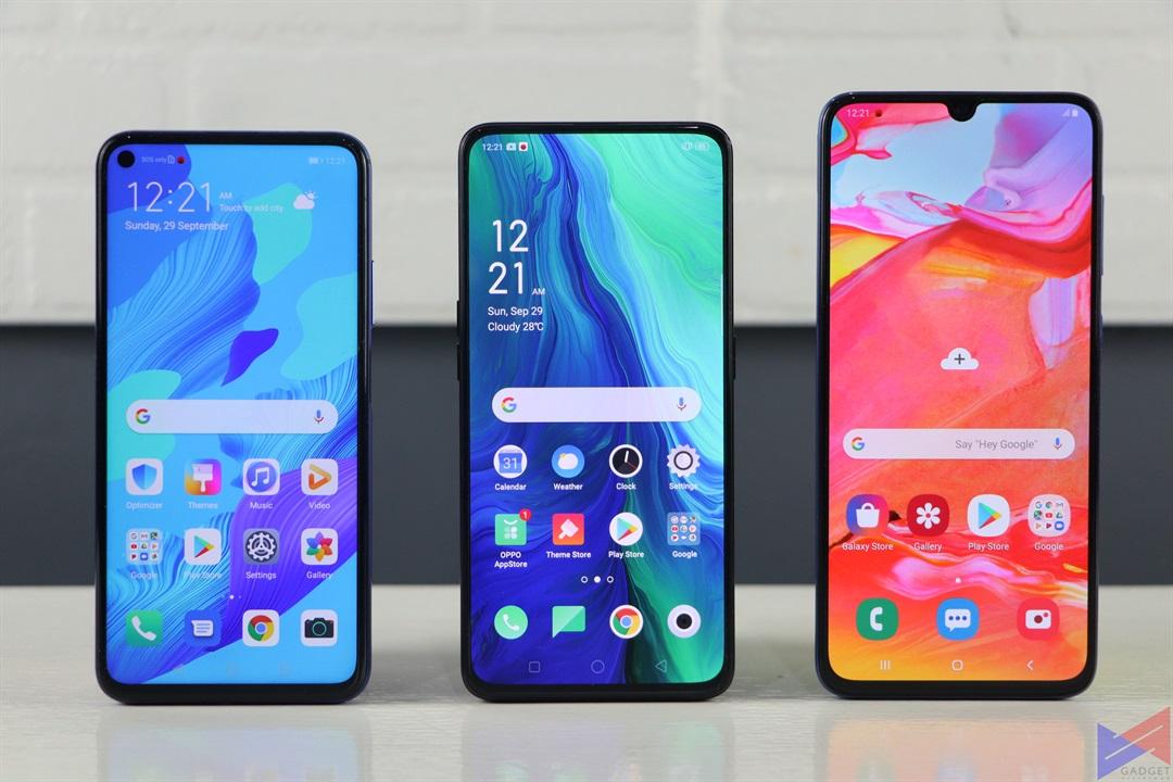 Huawei Nova 5T vs OPPO Reno vs Samsung Galaxy A70