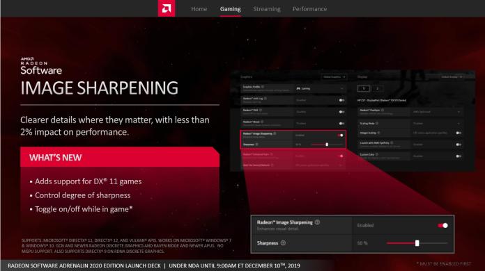 AMD Radeon Adrenalin 2020 Edition Radeon Image sharpening