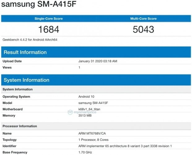 Galaxy A41 Geekbench