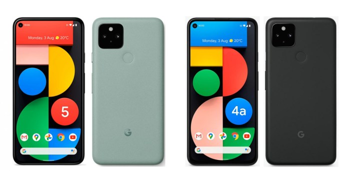 Pixel 5 (Left) and Pixel 4a 5G (Right)