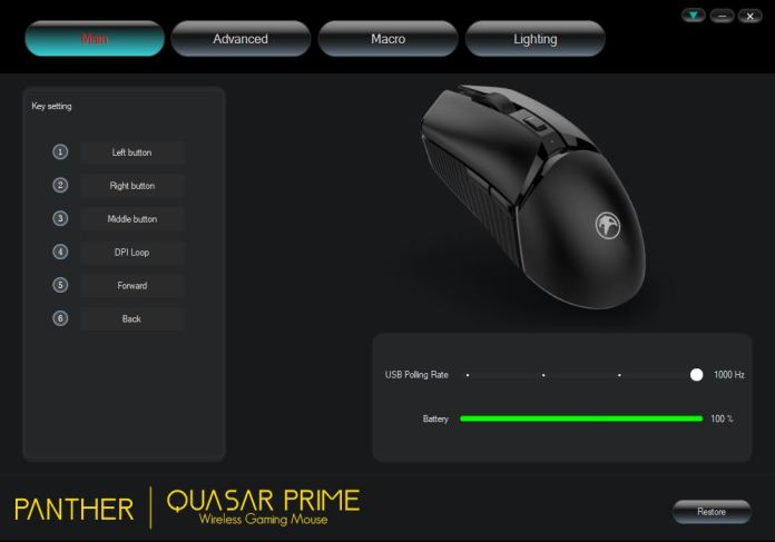 Panther Quasar Prime Wireless Gaming Mouse Review - Software 1