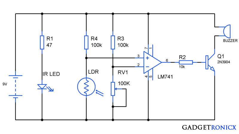 Pocket Sized Anti Theft Alarm Circuit Using IC 741