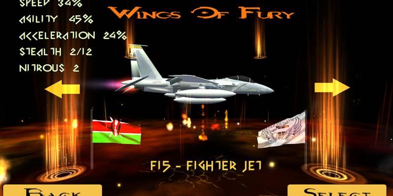 Wings of Fury 3D- menu display