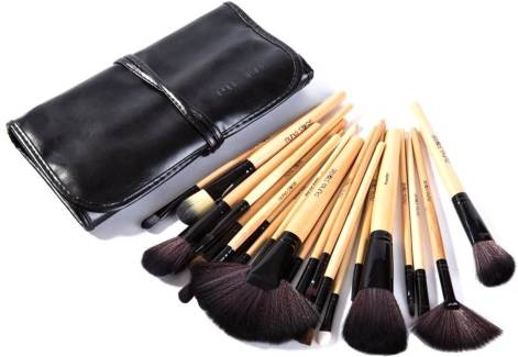 Puna Store Makeup Brush Set with Black PU Leather Case