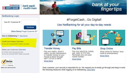 Click on HDFC Credit Card Netbanking Webpage
