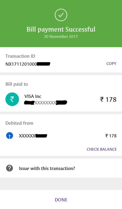 Credit Card Bill Payment Successful on PhonePe