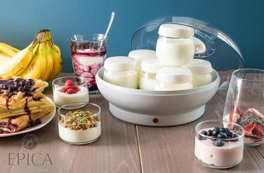 Epica Electric Yogurt Maker with 7 Dishwasher-Safe Glass Jars and Lids