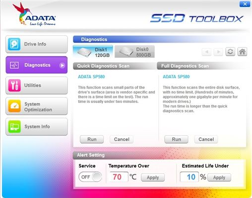 Adata SSD Toolbox Diagnostics