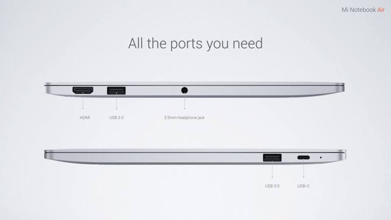 Mi Notebook connectivity ports