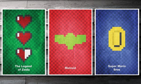The Minimalist 8 Bit Video Game Poster Set Gadgetsin